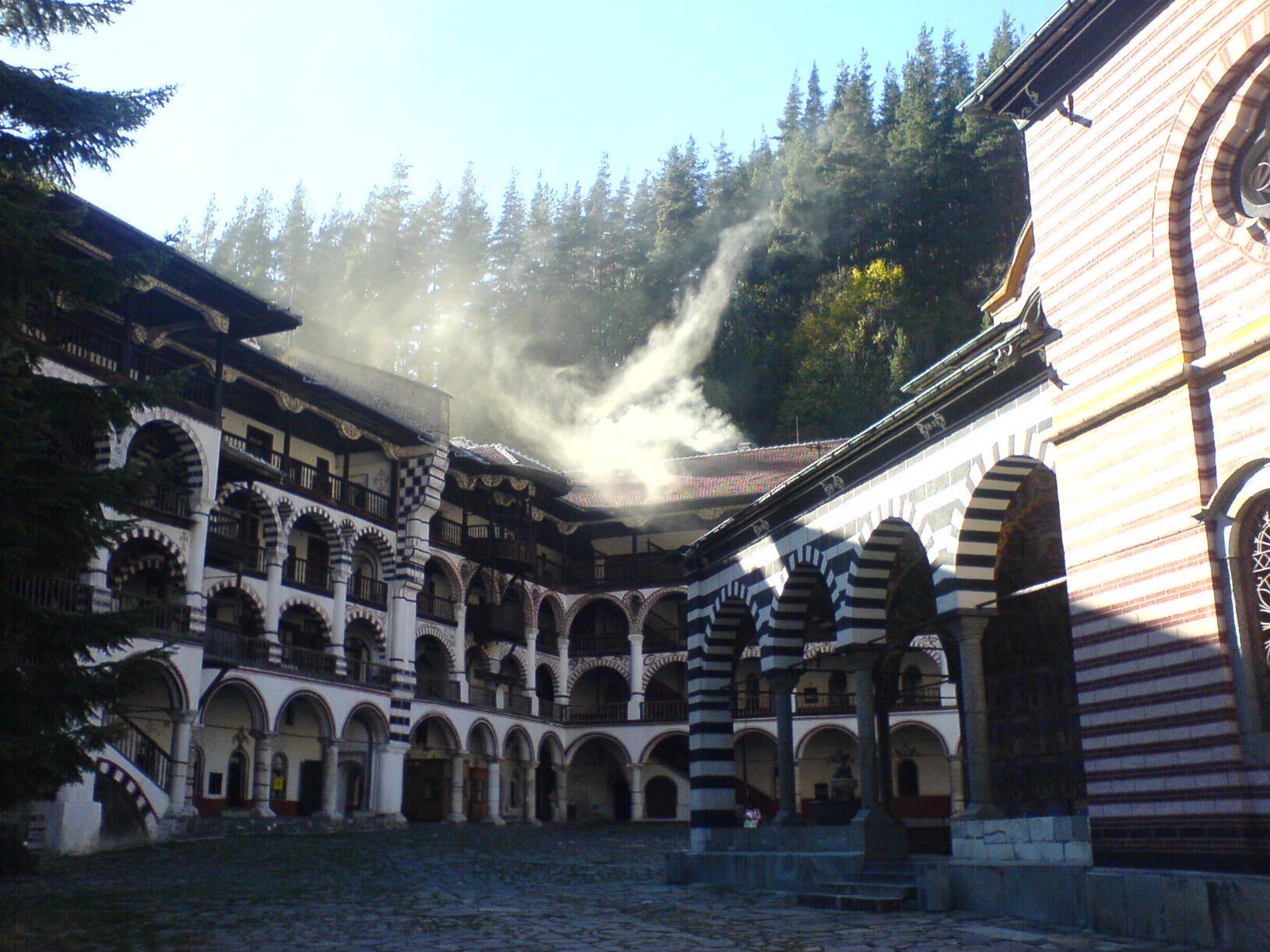 View From Inside the Rila Monastery